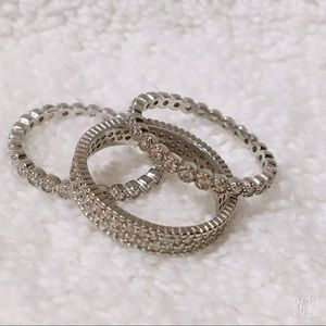 Set of 3 Stacking Rings Size 8 NWT Silvertone